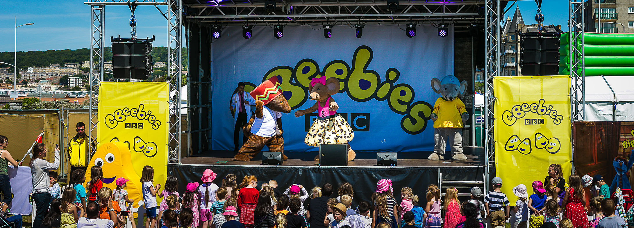 CBeebies stage branding for a children's performance
