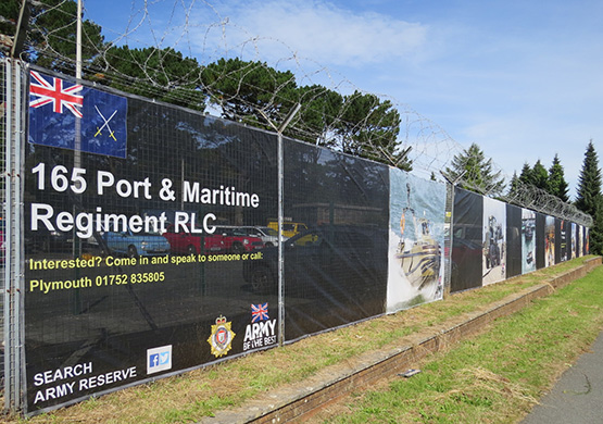 Branded Heras fencing for perimeter of military base