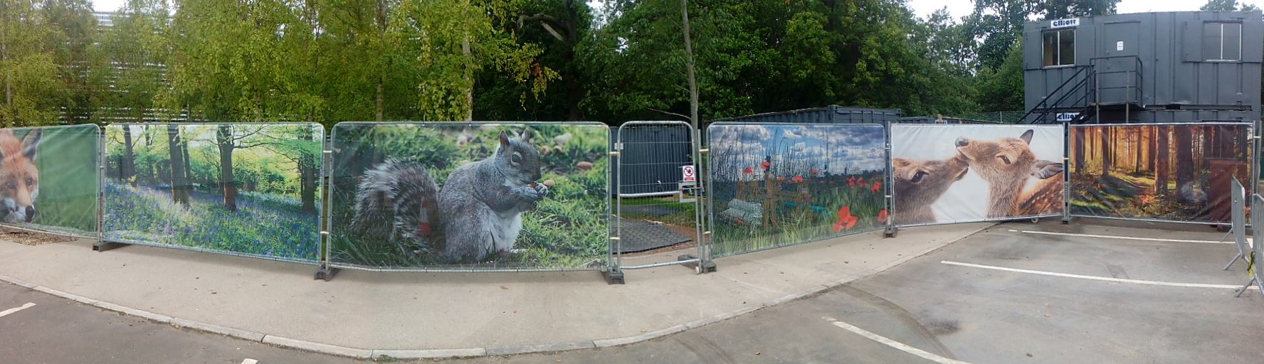 Variety of wildlife-themed Heras panels produced using a PVC mesh