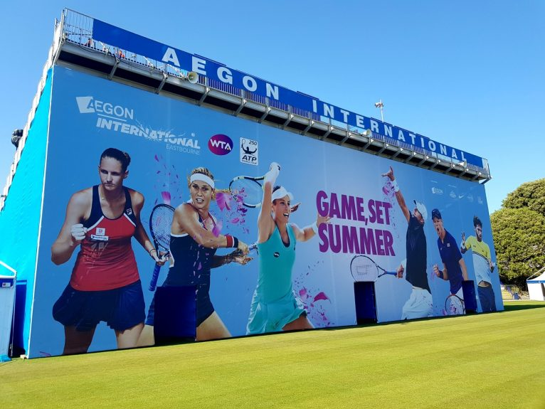 Grandstand backdrop for Aegon International Eastbourne