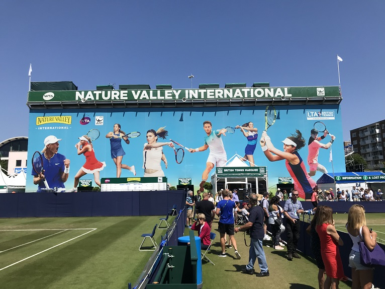 Large branded backdrop for Eastbourne grandstand