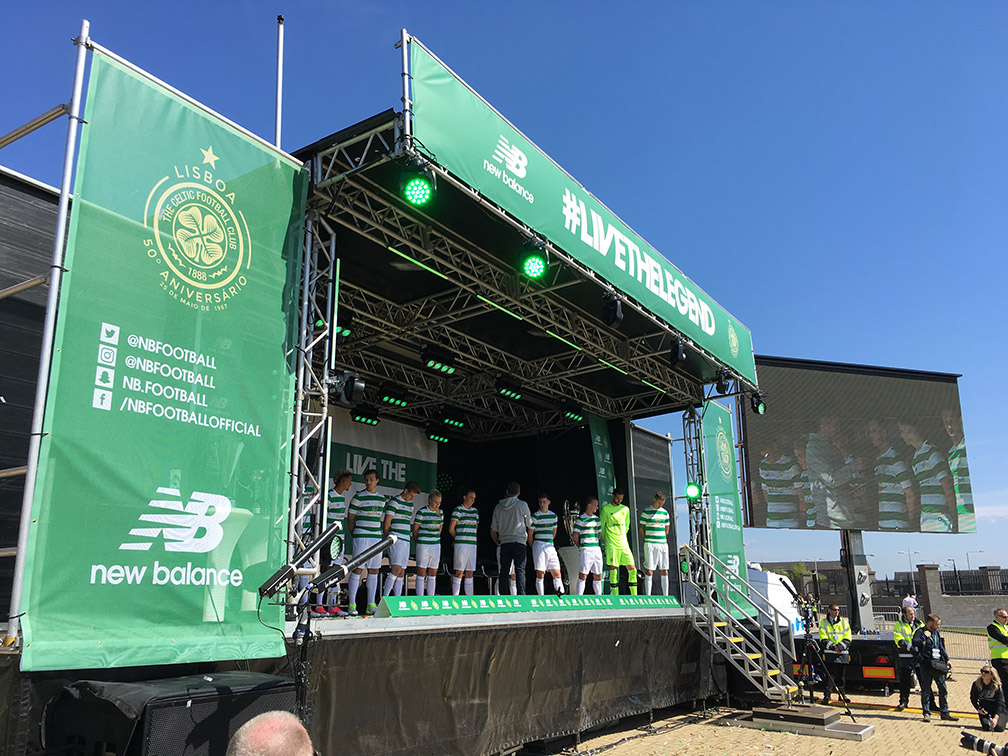 Stage branding for Celtic FC including PA scrims and header banner